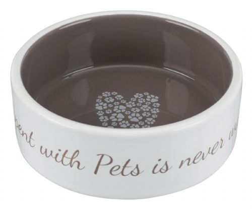 Trixie Cute Ceramic Dog Bowls LOVE Dinner / Water 3 Sizes - Cream & Taupe